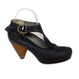 Mike & Chris Leather T-Strap Wood Cone Heels